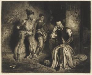 Léopold Flameng, Le Tasse moqué dans la prison des fous (eau-forte, 19e siècle) © RMN/F. Raux