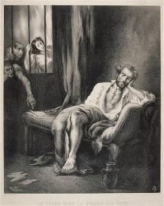 Feuille d'étude pour le Tasse dans la prison des fous (dessin du 19e siècle) © RMN/H. Lewandowski
